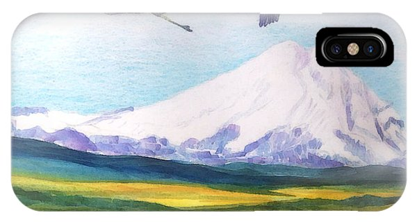 Mount Elbrus Watching Blue Herons Fly Over Sunflower Fields IPhone Case