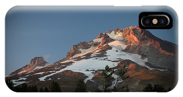 Mount Hood Summit In Warm Glow IPhone Case