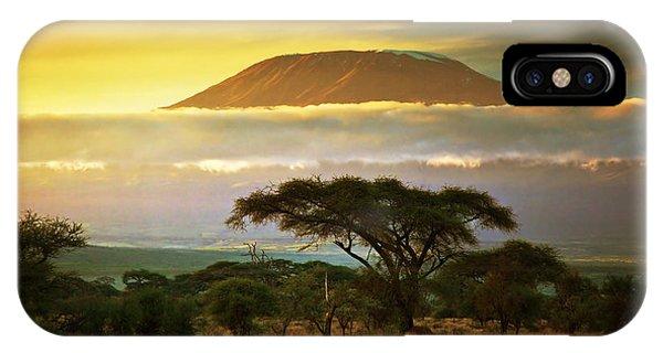 Mount Kilimanjaro Savanna In Amboseli Kenya IPhone Case