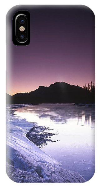 Mount Mcgillvary Silhouetted Behind An Icy Bow River Phone Case by Richard Berry