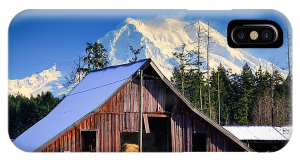 Rural America iPhone Case - Mount Rainier And Barn by Inge Johnsson