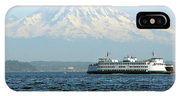 Mount Rainier And Ferry IPhone Case