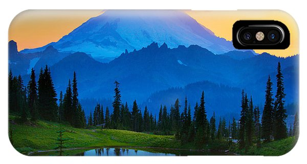 Sunset iPhone Case - Mount Rainier Goodnight by Inge Johnsson