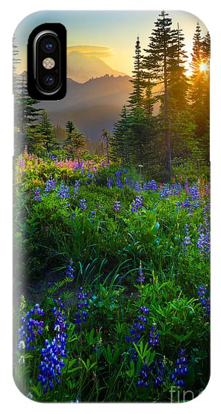 Peaceful iPhone Case - Mount Rainier Sunburst by Inge Johnsson