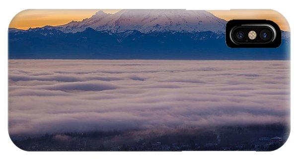 Downtown Seattle iPhone Case - Mount Rainier Sunrise Mood by Mike Reid