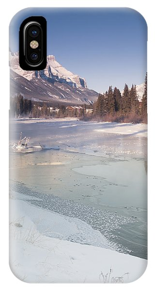 Mount Rundle And Creek In Winter  IPhone Case