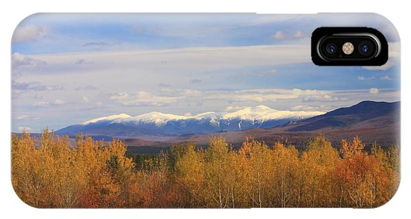 Mount Washington And Presidential Range Snow Foliage IPhone Case