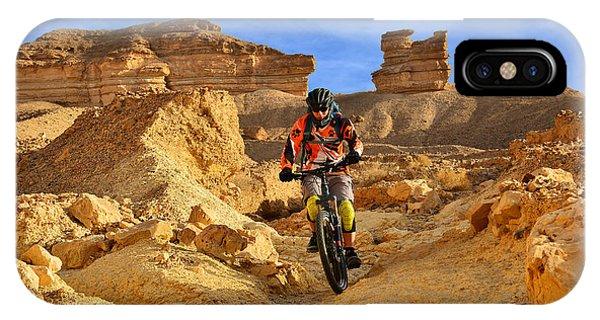 Mountain Biker In A Desert IPhone Case