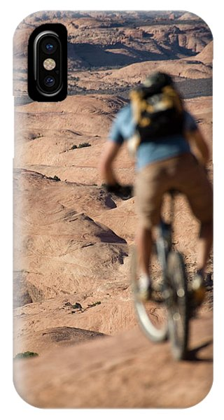 Slickrock iPhone Case - Mountain Biker, Moab, Utah by Whit Richardson