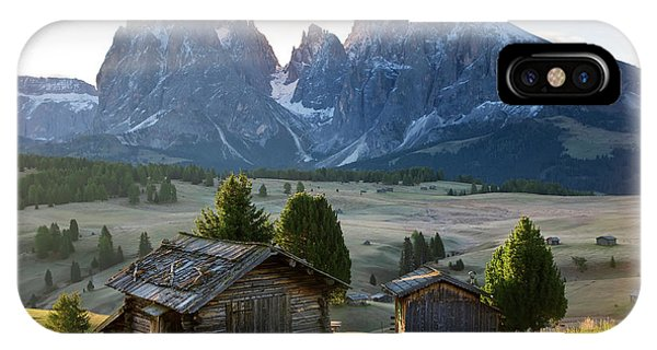 Alpine Meadows iPhone Case - Mountain Cabins, Seiser Alm Sassolungo by Peter Adams