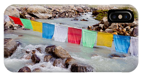 Mountain River And Buddhist Flags Lungta  IPhone Case