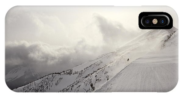 Mountain Snow Storm Approaching Ski Run IPhone Case