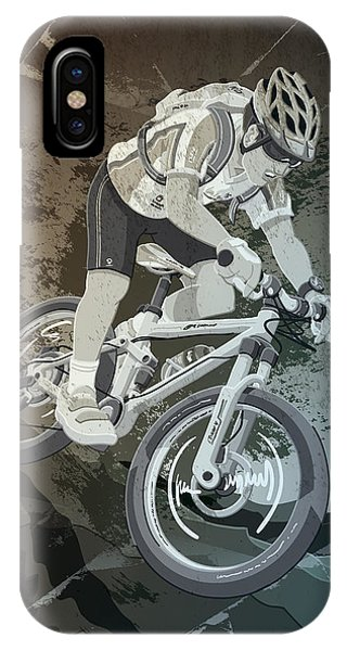 Mountainbike Sports Action Grunge Monochrome IPhone Case