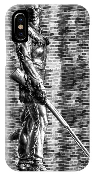 Mountaineer Statue With Black And White Brick Background IPhone Case