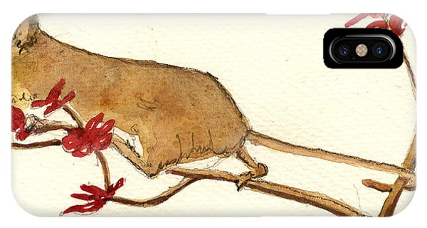 Mouse iPhone Case - Mouse Flowers by Juan  Bosco