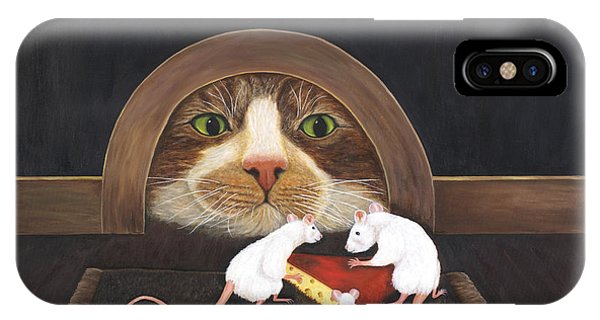 IPhone Case featuring the painting Mouse House by Karen Zuk Rosenblatt