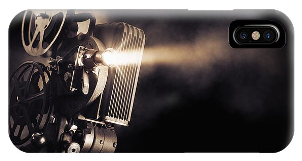 Dust iPhone Case - Movie Projector On A Dark Background by Fer Gregory
