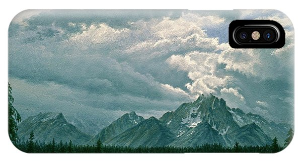 Teton iPhone Case - Moving Clouds-mount Moran by Paul Krapf
