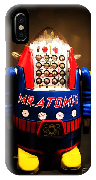 Atomic iPhone Case - Mr. Atomic Tin Robot by Edward Fielding
