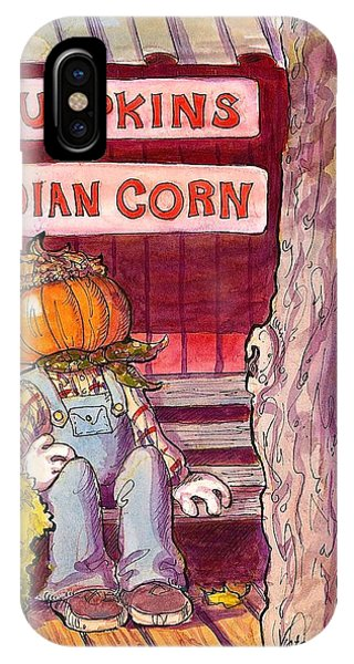 Pen And Ink Of Barn iPhone Case - Mr. Pumpkin by Victoria Lisi