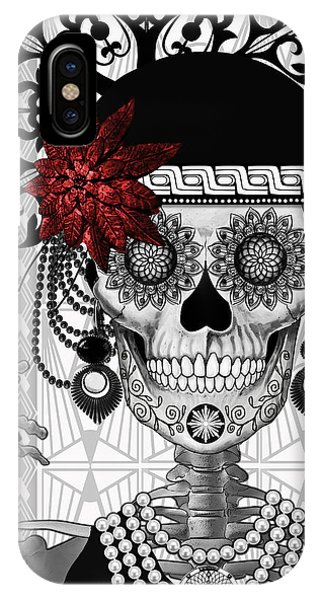 Mrs. Gloria Vanderbone - Day Of The Dead 1920's Flapper Girl Sugar Skull - Copyrighted IPhone Case