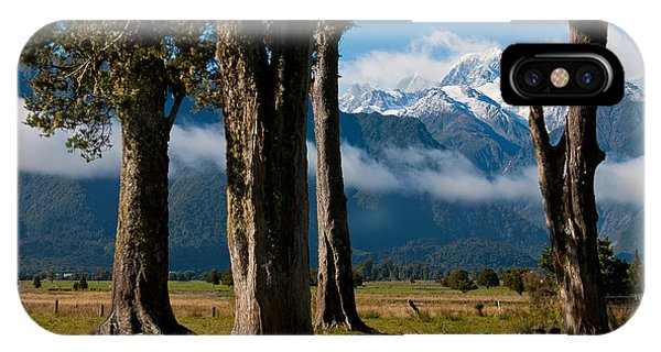 Mt Cook Through Trees IPhone Case