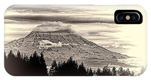 Mt. Rainier Wa In Black And White IPhone Case