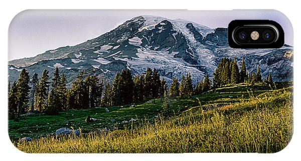Mt Rainier With Purple Sky IPhone Case