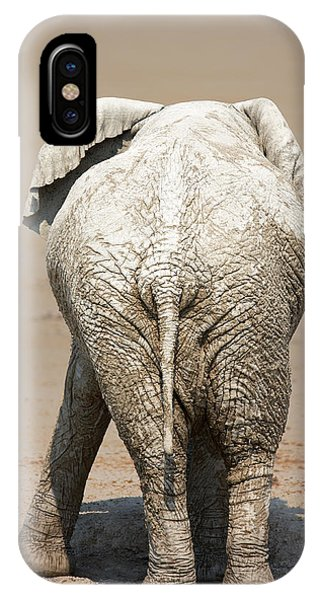Humor iPhone Case - Muddy Elephant With Funny Stance  by Johan Swanepoel
