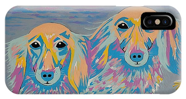 Mugi And Tatami - Contemporary Dachshunds Dog Art IPhone Case
