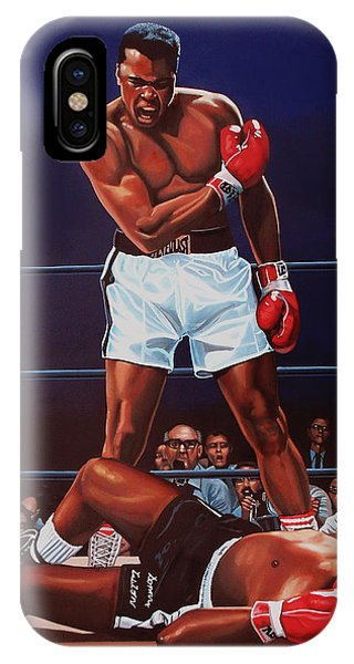 Portraits iPhone X Case - Muhammad Ali Versus Sonny Liston by Paul Meijering