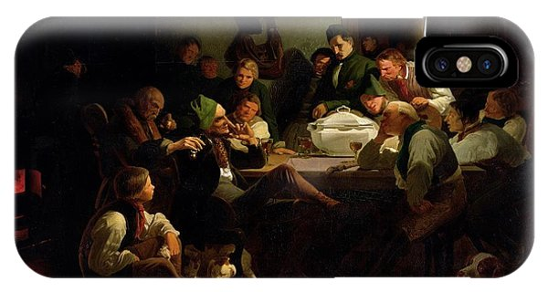 Munchhausen Tells His Hunting Tales, 1842 Oil On Panel IPhone Case