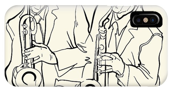 Saxophone iPhone X Case - Musicans Of Jazz. Vector Illustration by Ekaterina Kolchenko