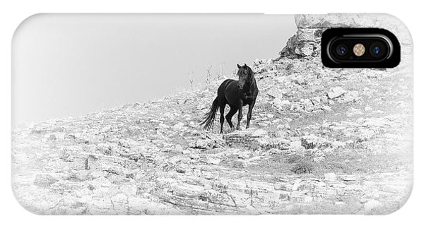 Mustang On Hill 2 Bw IPhone Case