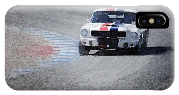 Classic Cars iPhone Case - Mustang On Race Track Watercolor by Naxart Studio