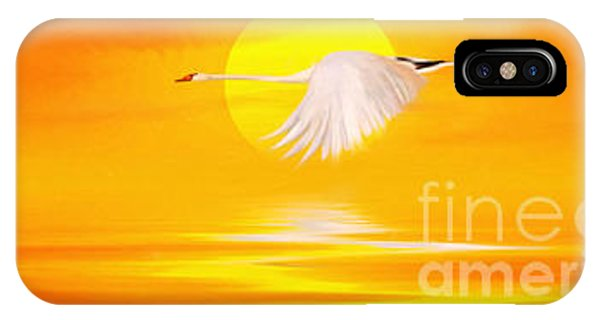 Swan iPhone X Case - Mute Sunset by John Edwards