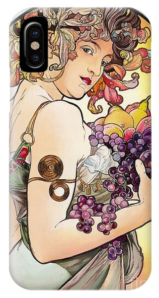 My Acrylic Painting As An Interpretation Of The Famous Artwork By Alphonse Mucha - Fruit IPhone Case