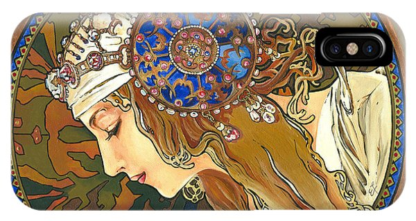 My Acrylic Painting As Interpretation Of Alphonse Mucha- Byzantine Head. The Blonde. Diagonal Frame. IPhone Case