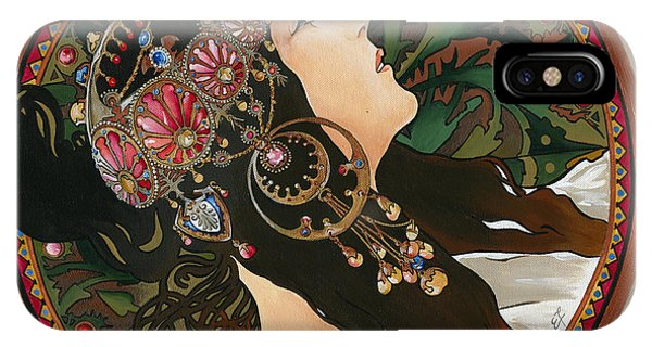 My Acrylic Painting As Interpretation Of Alphonse Mucha - Byzantine Head The Brunette Diagonal Frame IPhone Case