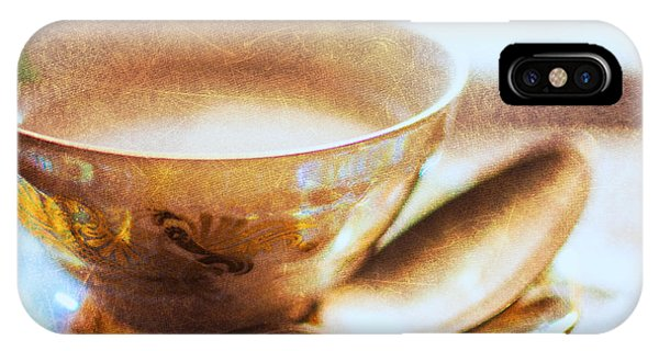 Silver And Gold iPhone Case - My Cup Of Tea Square by Jon Woodhams