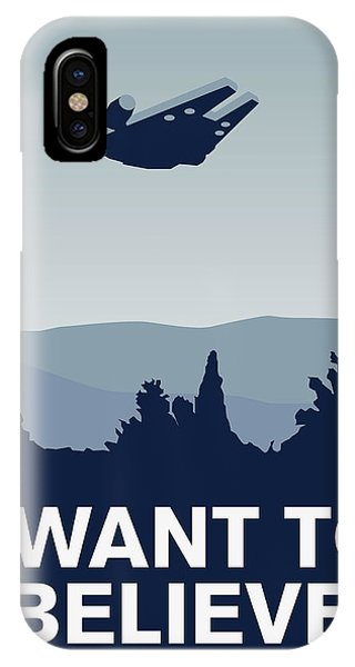 Doctor iPhone Case - My I Want To Believe Minimal Poster-millennium Falcon by Chungkong Art