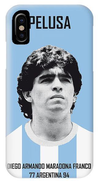 Argentina iPhone X Case - My Maradona Soccer Legend Poster by Chungkong Art