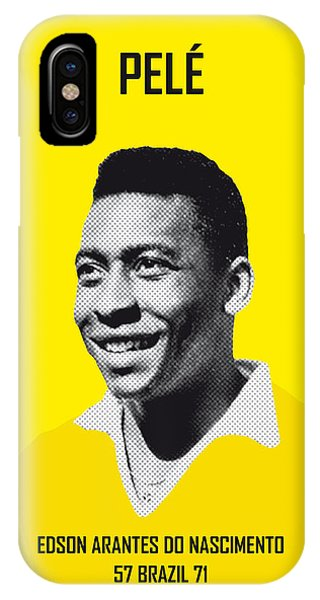 Soccer iPhone Case - My Pele Soccer Legend Poster by Chungkong Art