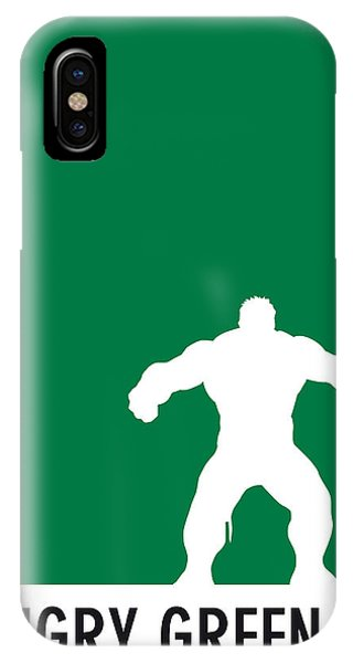 Comic iPhone Case - My Superhero 01 Angry Green Minimal Poster by Chungkong Art