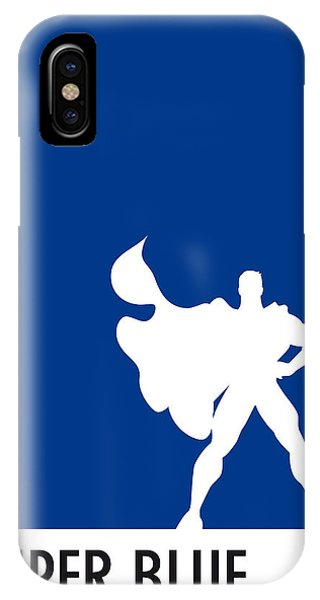 Hero iPhone Case - My Superhero 03 Super Blue Minimal Poster by Chungkong Art