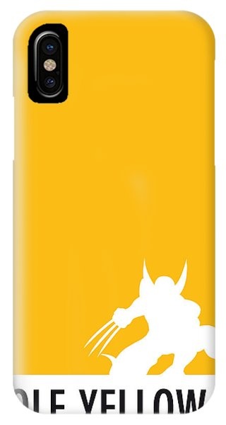 Men iPhone Case - My Superhero 05 Wolf Yellow Minimal Poster by Chungkong Art