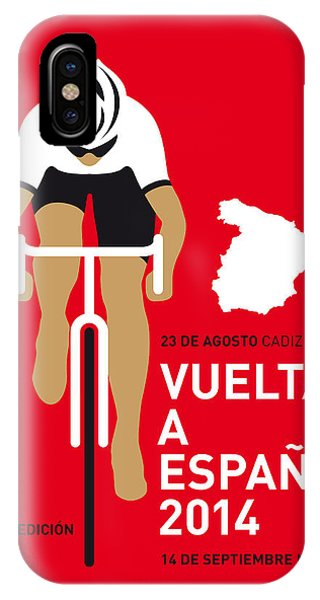 Bicycle iPhone X Case - My Vuelta A Espana Minimal Poster 2014 by Chungkong Art