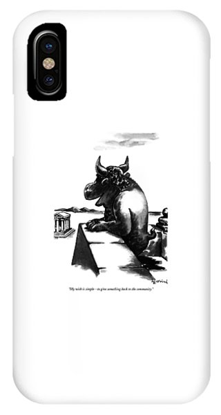 Minotaur iPhone Case - My Wish Is Simple - To Give Something Back by Eldon Dedini