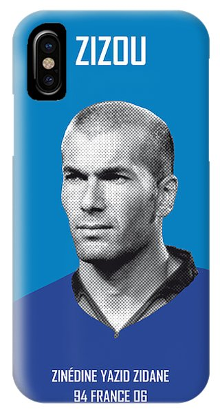Soccer iPhone Case - My Zidane Soccer Legend Poster by Chungkong Art