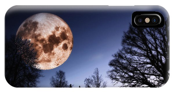Mysterious Full Moon Rising Over Forest IPhone Case